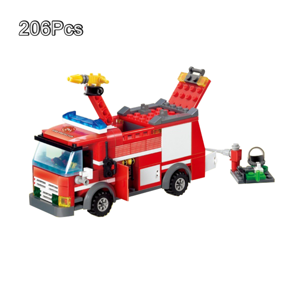 Blocks Huiqibao Toys 206pcs Fire Fighting Sprinkler Cars Fireman Figures Building Blocks Compatible City Trucks Vehicles Bricks