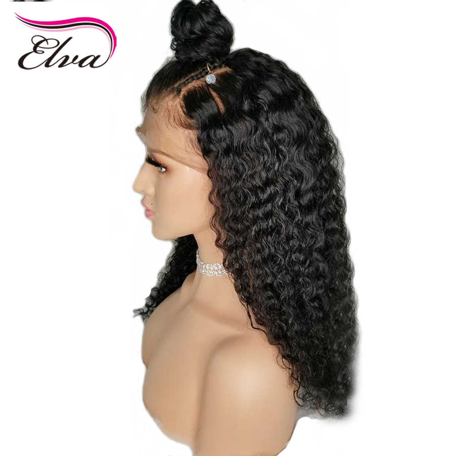 Волосы ELVA 150% Плотность 13x6 глубокий прощание Синтетические волосы на кружеве человеческих волос парики для черный Для женщин отбеленные узлы бразильского парик из натуральных волос