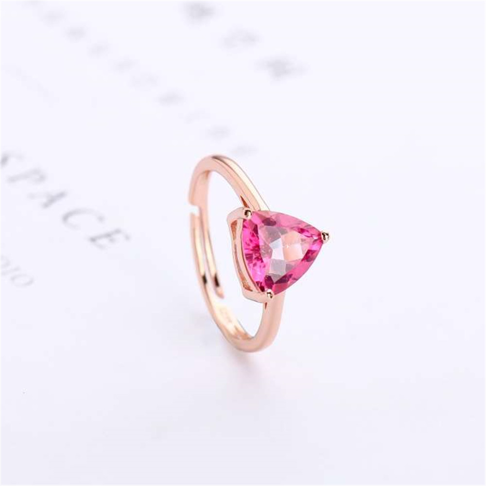 Gemstone Fine Jewelry Factory Wholesale Fashionable 925 Sterling Silver 7mm Triangle Shape Natural Pink Topaz Ring For Women