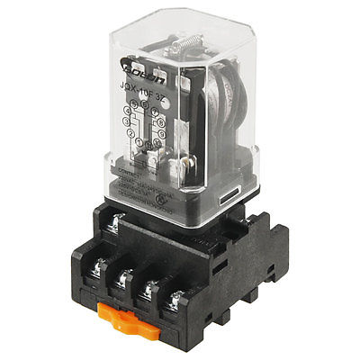 DC 24V Coil Voltage 10A 3PDT Power Relay w Screw Terminal Socket JQX-10F-3Z 10pcs dc220v coil 3pdt 11pin green led general purpose power relay w socket base free shipping