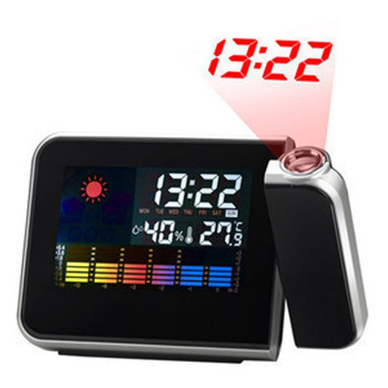 New Color Screen LCD Backlight Projection Snooze Alarm Clock Creative Clock Black With Weather Report