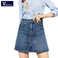 College Students Mini Pleated Denim Skirt Girls Cute Blue Jean Skirts Womens High Waist Summer 2017 Saia Femme New Arrival