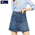 Los Estudiantes universitarios de Mini Plisada Falda de Mezclilla Niñas Lindo Blue Jean Faldas Para Mujer de Cintura Alta de Verano 2017 Femme Saia Nueva Llegada