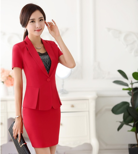 Formal Uniform Styles 2016 Summer Short Sleeve Professional Business Women Suits Jackets And Skirt Female Outfits Blazers Sets