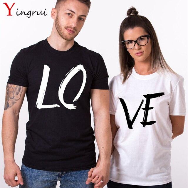 ab3d1f9cd3d46 Verano amor pareja Camisetas moda amantes ropa Ropa Estilo de calle para la  familia mujeres hombres