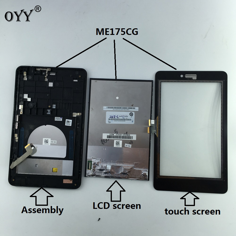 capacitive touch screen LCD Display Digitizer Glass Assembly with frame For Asus Fonepad 7 Memo HD 7 ME175 ME175CG K00Z 5 5 lcd display touch glass digitizer assembly for asus zenfone 3 laser zc551kl replacement pantalla free shipping