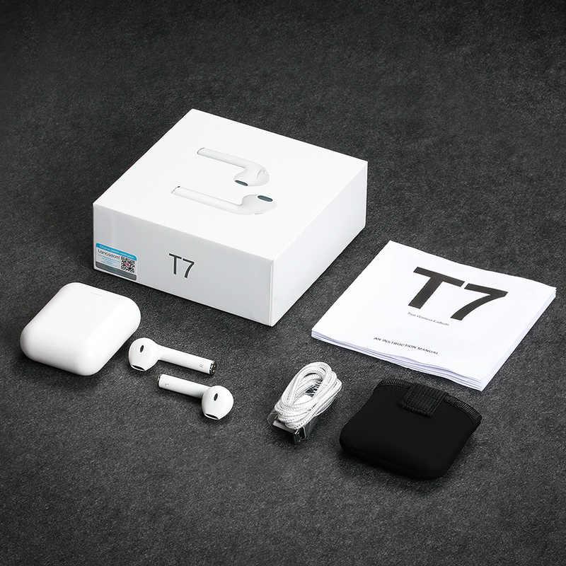 Langsdom T7 ミニ Bluetooth イヤホンワイヤレスヘッドフォンと充電ボックスステレオ真インナーイヤー型ヘッドセットイヤホン fone のデ ouvido
