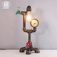 Vintage Loft Industrial Style Steampunk Desk Lamp Retro Iron Art Cafe Bar Table Lights Restaurant Water Pipe Meter Lighting