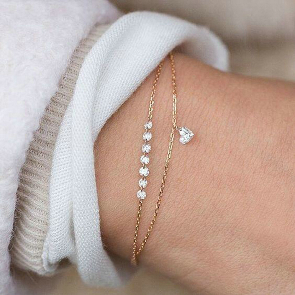 2019 New Fashion Simple Pretty Women Rhinestone Crystal Multilayer Bracelet Bangle Fashion Cuff Jewelry