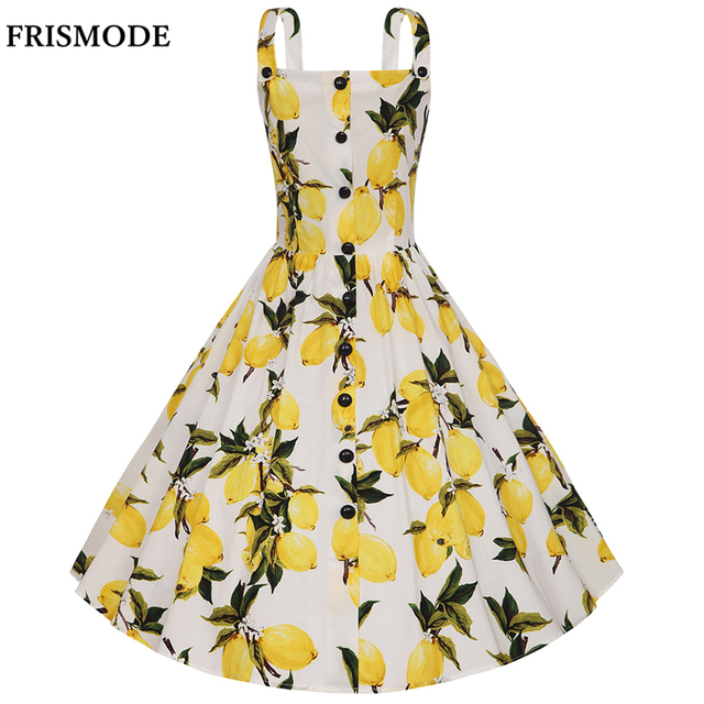 6474349a1d2665 Single-breasted Spaghetti Strap Midi Lemon Print Dress 2018 Fashion Audrey  Hepburn Vintage Dresses Women Plus Size Summer Dress