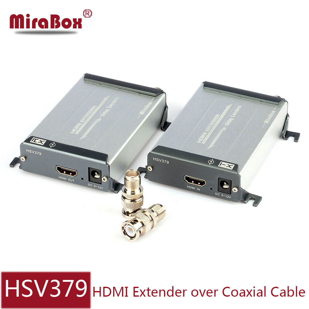 MiraBox Coaxical cable HDMI Extender With BNC Port Support 1080P No Latency Coax Transmit 200-300m coax transmitter and receiver 200m hdmi extender over coaxial cable with video lossless and no latency to bnc hdmi transmitter and receiver over coax cable