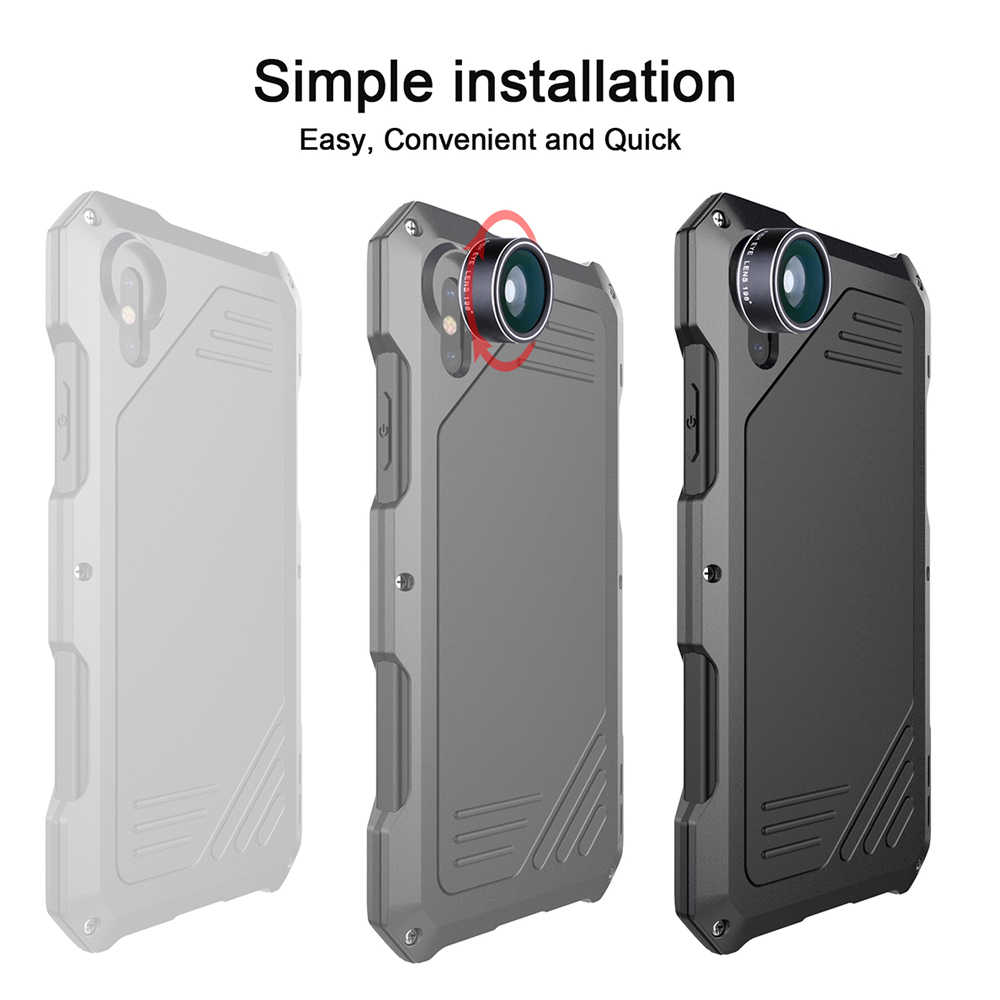 Ascromy For IPhone X Lens Kit Case Fisheye Shockproof Aluminum Metal Bumper Cover For iPhone 7 Plus 8 6 6S 5 S 5S SE Accessories