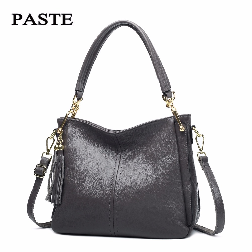 Paste Women Shoulder Bags Totes 2018 Crossbody Messenger Bag Soft Cow Genuine Leather Solid Brand New Handbags 6P0735