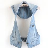 Fashion Hooded Summer Waistcoats jeans Vest Women