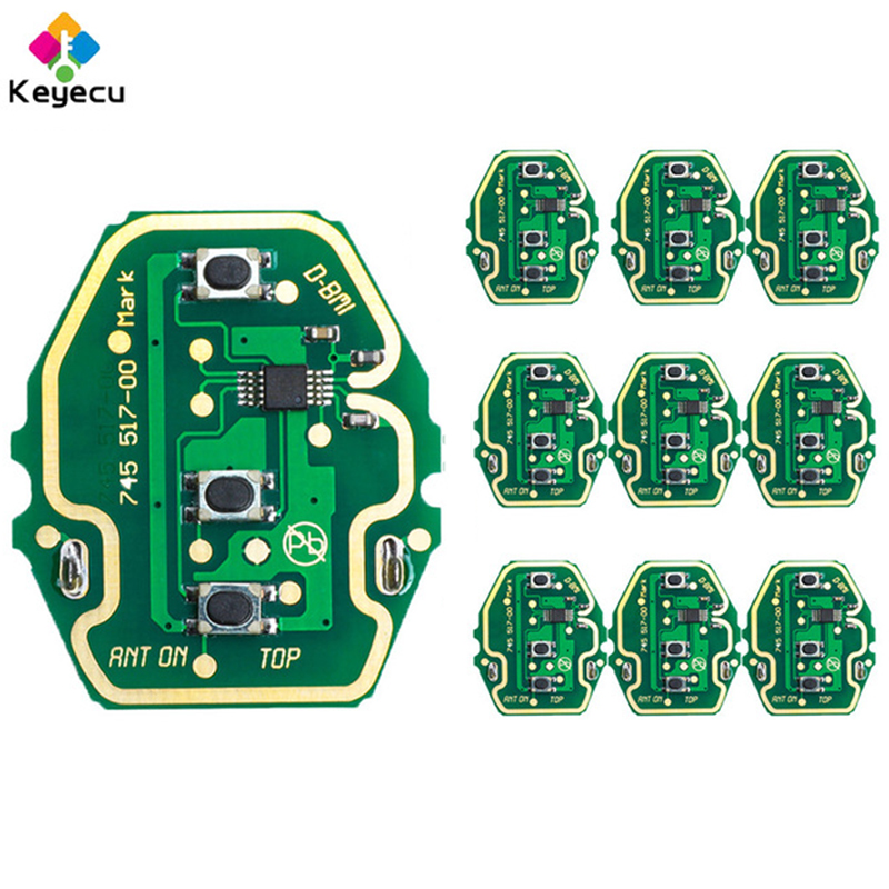KEYECU 10PCS Lot EWS Adjustable Frequency Remote Control Circuit Board 3 Button 315MHz 433MHz FOB for