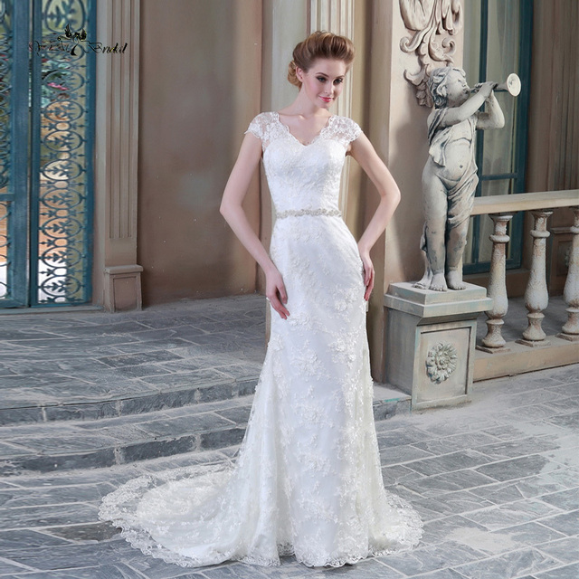 Lace Wedding Dress 2015 Summer Style Cap Sleeve Sheer Back Zipper ...