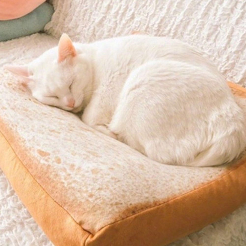 Sweet-Tempered Cartoon Sleeping Cotton Simulation Bread Slices Cat Plush Toy Toast Cushion Soft Pillow Cat Sleep Mat Pet Supplies 40cm/60cm Durable Service Table & Sofa Linens