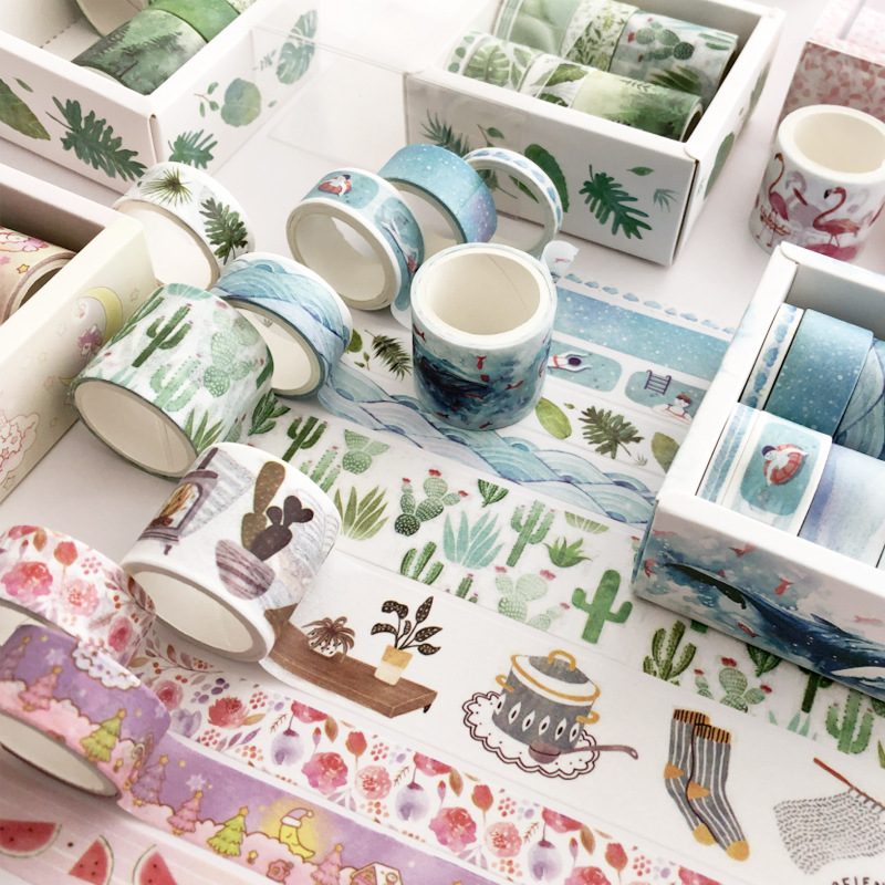8pcs/pack Succulent Whale Flamingo Washi Tape Set Diy Decoration Scrapbooking Planner Masking Tape Label Sticker Stationery