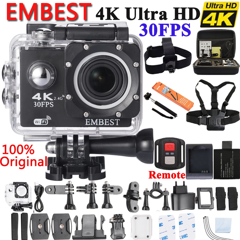 EMBEST 4K WIFI Sports Action Camera With Remote Control Ultra HD Waterproof Underwater 30M Camcorder 16MP 170 Degree Wide Angle v3 4k wifi sports camera 16mp