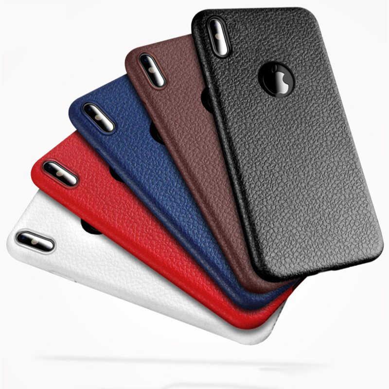 Kisscase Da PU Siêu Bền Cho iPhone 8 8 Plus 11 XS Max Bao Mềm Black Cho iPhone 11 pro XS X XR iPhone 8 7 6 S CapA