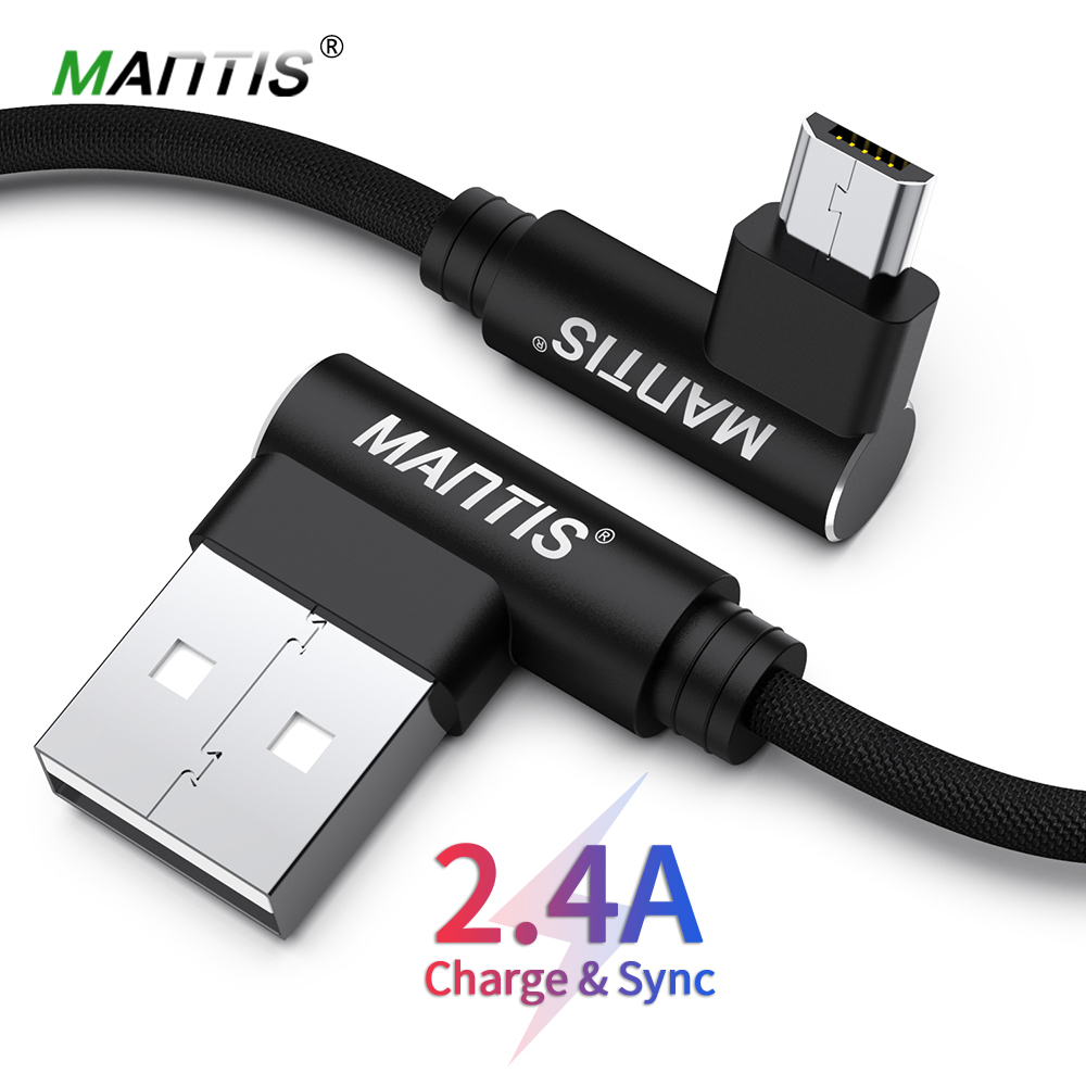 MANTIS 3m <font><b>2m</b></font> 1m <font><b>Micro</b></font> <font><b>USB</b></font> <font><b>Cable</b></font> 90 Degree Elbow Mobile Game Fast Charging <font><b>Usb</b></font> <font><b>Cable</b></font> For Samsung Huawei Xiaomi Oneplus Redmi image