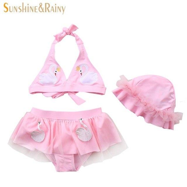 9b69dabe79 Ins Girls Swimsuits Swan Split Swimsuit Bikini Set Swimming Trunks  Underwear Suit 3Pcs Spa Swimsuits Baby Swimwear Clothing