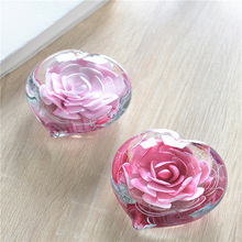 Crystal Heart-shaped flower desktop decor Furnishing art Coloured glaze miniature Figurine for Romantic Lovers gifts
