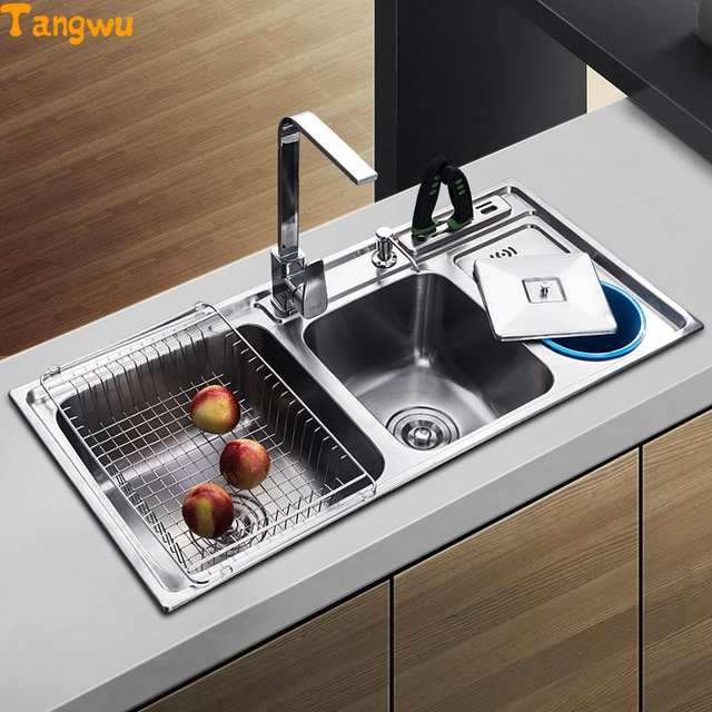 US $319.2 60% OFF|Kitchen Sinks Tangwu dual trough sink kitchen stainless  steel wash basin have with garbage barrel-in Kitchen Sinks from Home ...