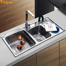 tangwu dual trough sink kitchen stainless steel wash basin have with garbage barrel