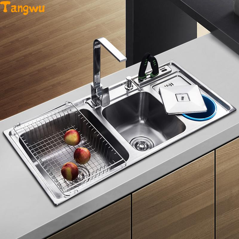 tangwu dual trough sink kitchen stainless steel wash basin have with garbage barrelchina - Kitchen Sinks Price