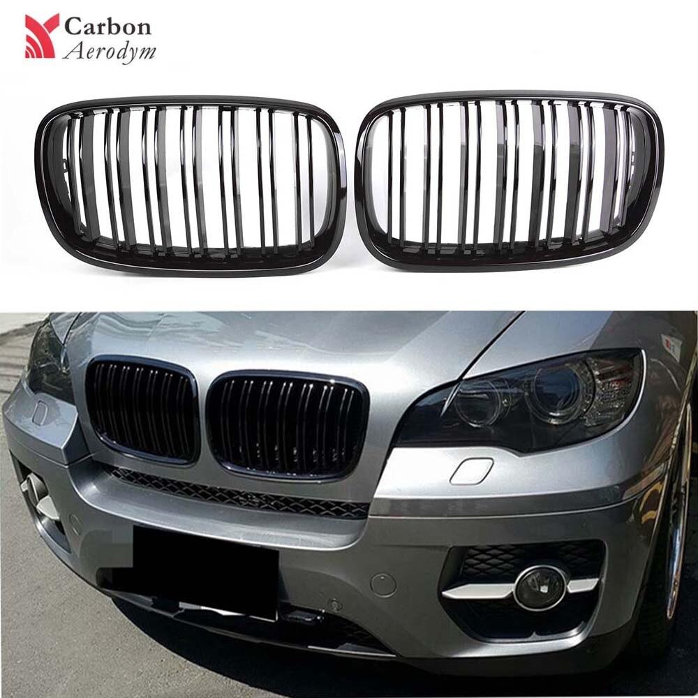 Grille ABS pour BMW x5 Series E70 E71 noir brillant Grille à 2 lamelles 2007-2014