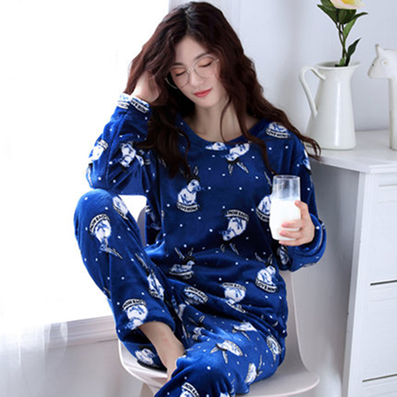 Winter Women Pyjamas Sets Polyester Full Trousers Lady Two Piece Pajama Set  Flannel Female Cartoon Bunny Print Home Clothing 2ad63a4ca