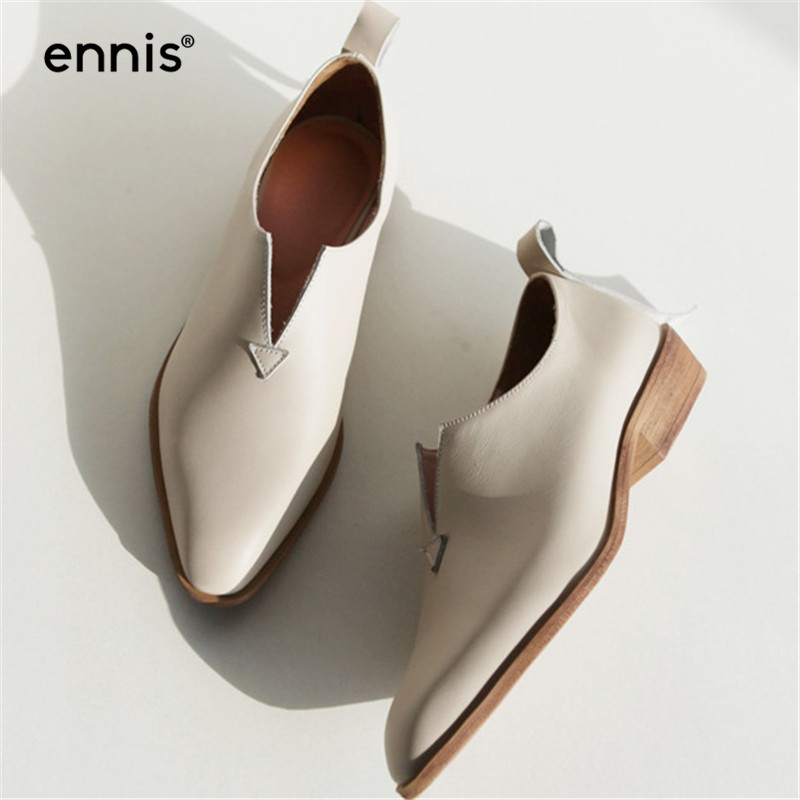 ENNIS 2019 Genuine Leather Shoes Women Flats V Neck Fashion Loafers Europe Square Toe Leather Moccasins