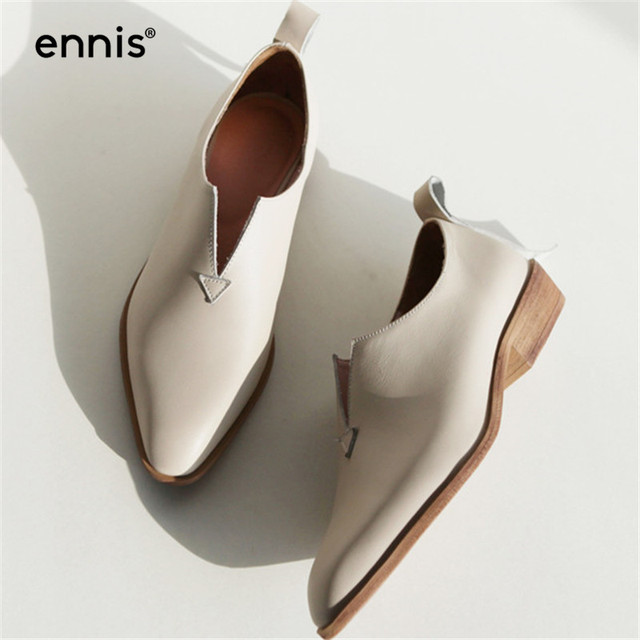 ENNIS 2019 Genuine Leather Shoes Women Flats V Neck Fashion Loafers Europe Square Toe Leather Moccasins Beige Shoes Spring C842