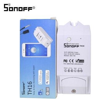 جديد ITEAD Sonoff TH16 16A 3500 واط eWelink مستشعر درجة الحرارة والرطوبة الموقت الذكية واي فاي التبديل وحدة تحكم لاسلكية عبر الهاتف الذكي