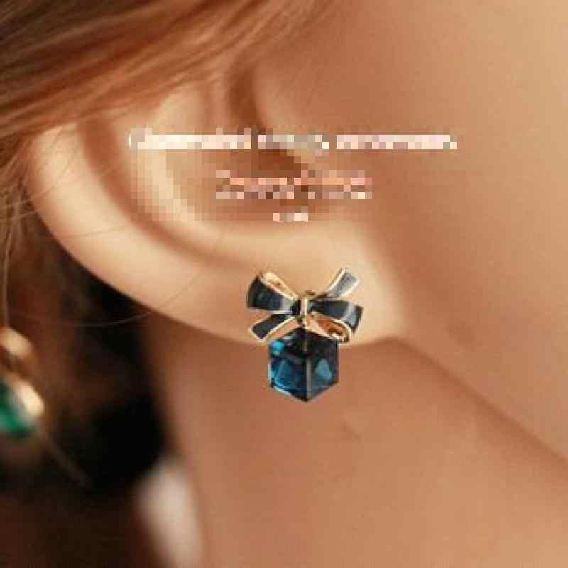 Bowknot Ohrringe Cube Blauen Kristall Ohrringe Für Frauen Brincos Earing Verhindern Allergie Ohrring Ohrringe Exquisite Schmuck
