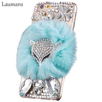 Hard Plastic Covers For 5s 6 6s Luxury Fox Head Rhinestone Cover Rabbit Fur Mobile Phone