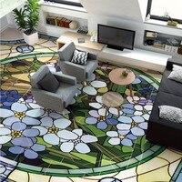 Ücretsiz Kargo özel 3D stereo Nordic çiçek modern geometrik desen oturma odası otel HD zemin sticker duvar kağıdı