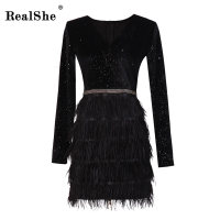 RealShe 2018 Sexy Summer Dress Women Fashion V Neck Elegant Feather Sexy Dress Ladies Party Bodycon