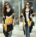 Dulce temperamento moda color de la raya chaqueta de punto para mujeres hizo punto ropa irregular punto caqui, blanco, amarillo