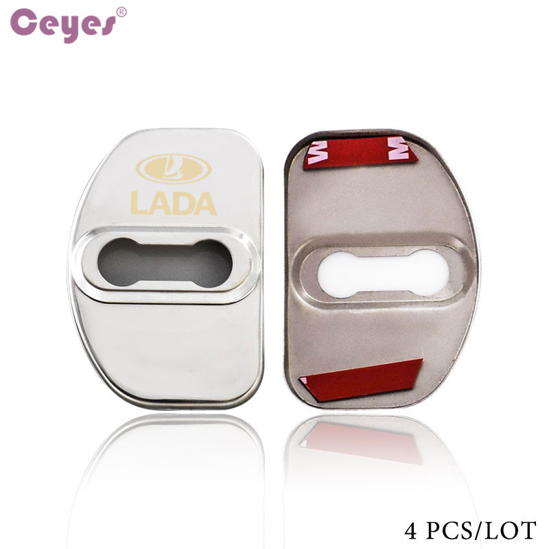 Image 2 - Ceyes Car Styling Auto Door Lock Covers Case For Lada Vesta SW Xray Cross Car Badge Accessories Stainless Steel Car Styling 4pcs-in Car Stickers from Automobiles & Motorcycles