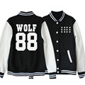 EXO KPOP WOLF88 2017 New Spring Korean version men women black White Mixed colors Cotton Letters printed coat Baseball uniform