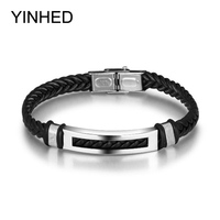New Fashion Men Bracelet Stainless Steel Genuine PU Leather Bracelets Bangles Birthday Gift For Men Jewelry
