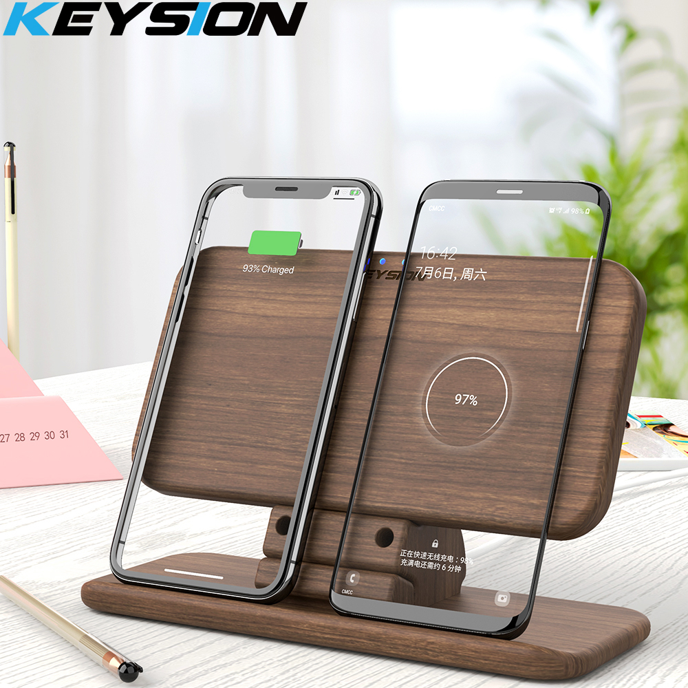 KEYSION 5 bobines double QI rapide sans fil chargeur support/Pad convertible charge pour iPhone 11 XS Max XR Samsung Note 10 S10 AirPods