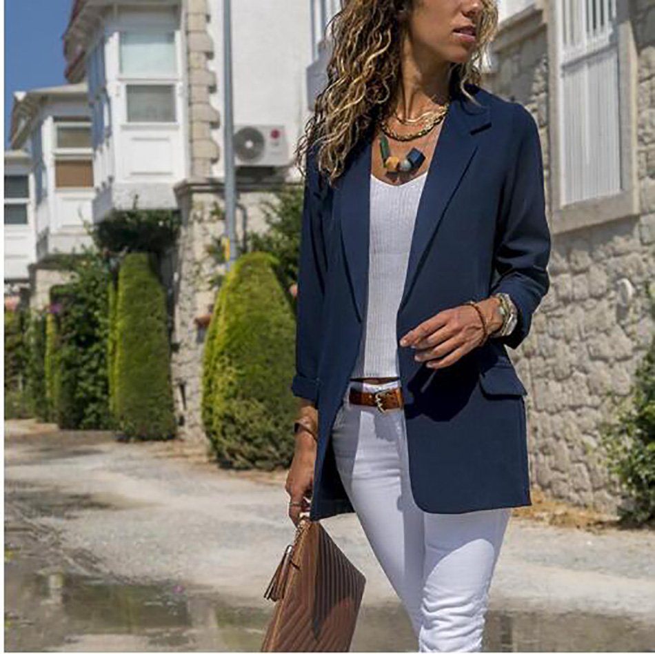 2019 New Spring Women Long Sleeve Blazer Open Front Lightweight Casual Office Lady Turn Down Collar Slim Jacket Outwear Female