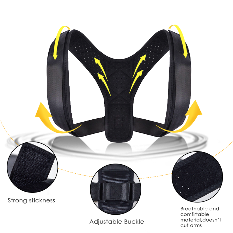 1Pc Adjustable Posture Corrector Healthy Support Back Shoulder Brace Belt Adjustable Black Color Corrector For All Body Sizes