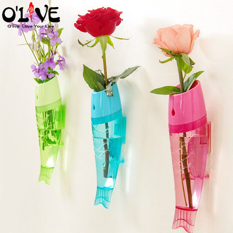 1 Pc Fish Shape Plastic Vases Hanging Wall Mounted Vase For Flowers