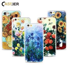 CASEIER Phone Case For iPhone 6 6s Plus Soft TPU Ultra-thin Monet Painting Cover 5 5s SE Relief Silicone phone Shell