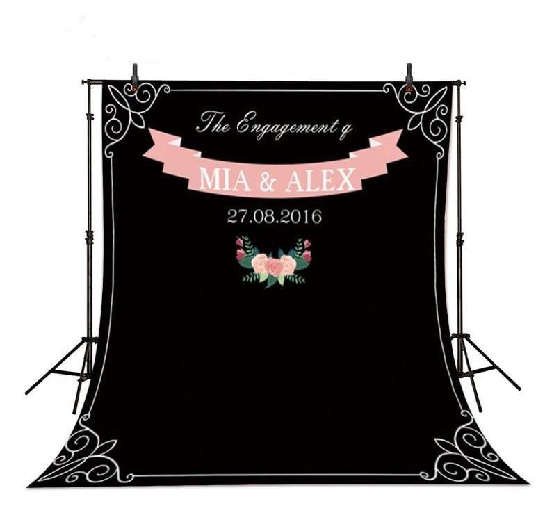 где купить Div Custom Name Date Photocall Chalk Blackboard Backgrounds Vinyl cloth Computer printed wedding photo backdrop по лучшей цене