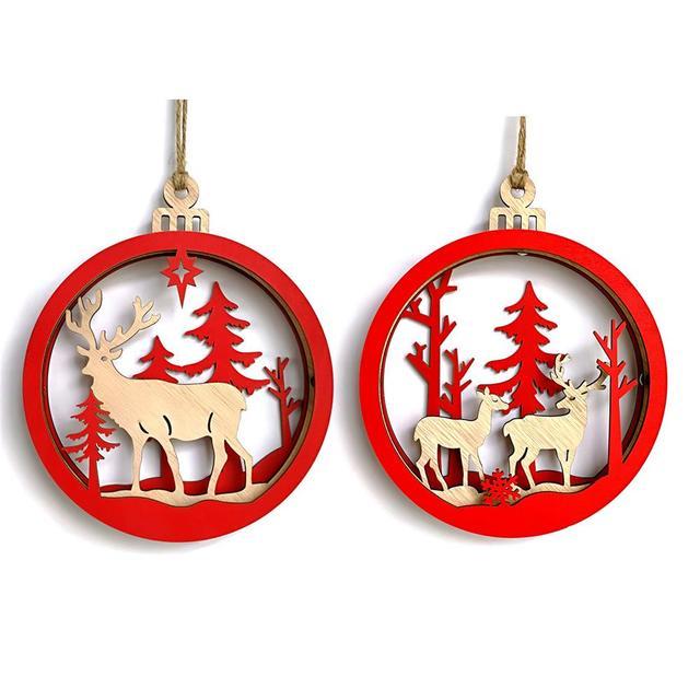 1pcs large wooden 3d elk christmas ball pendant christmas hanging decor christmas decorations ornaments